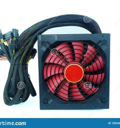 power supply black color with big red fan with cables unit for pc computer isolated on white background [ 1600 x 1156 Pixel ]
