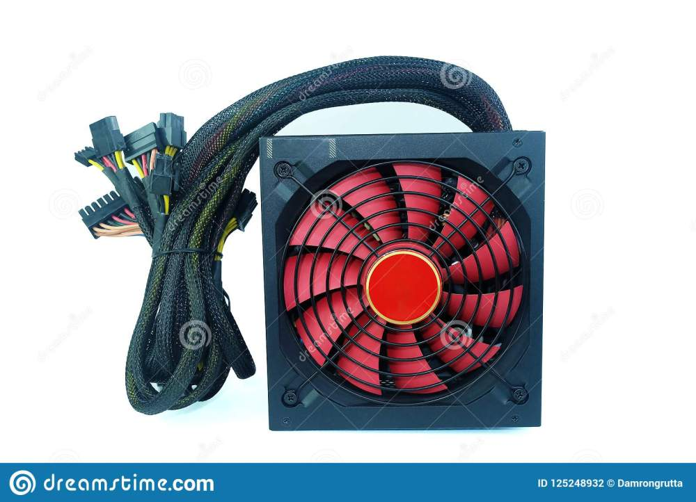 medium resolution of power supply black color with big red fan with cables unit for pc computer isolated on white background