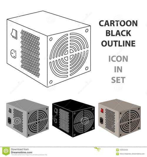 small resolution of power supply unit icon in cartoon design isolated on white background personal computer accessories symbol stock vector illustration