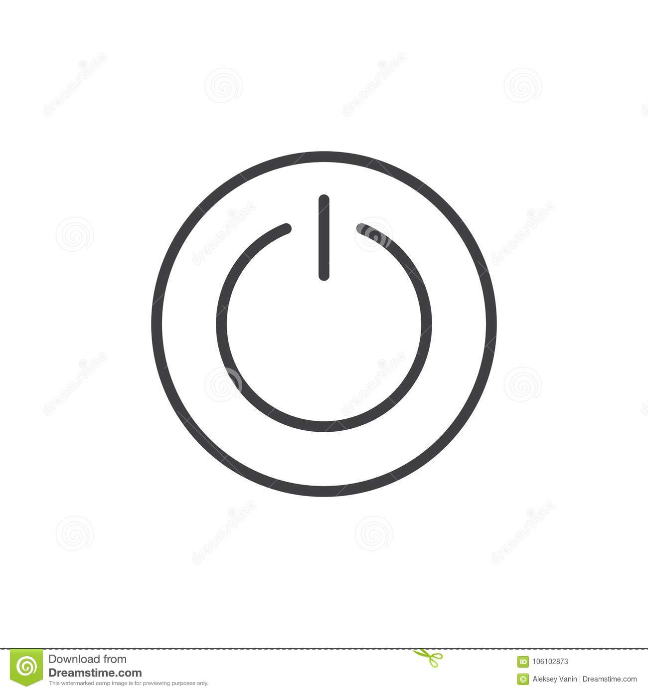 Power Switch Line Icon Stock Vector Illustration Of