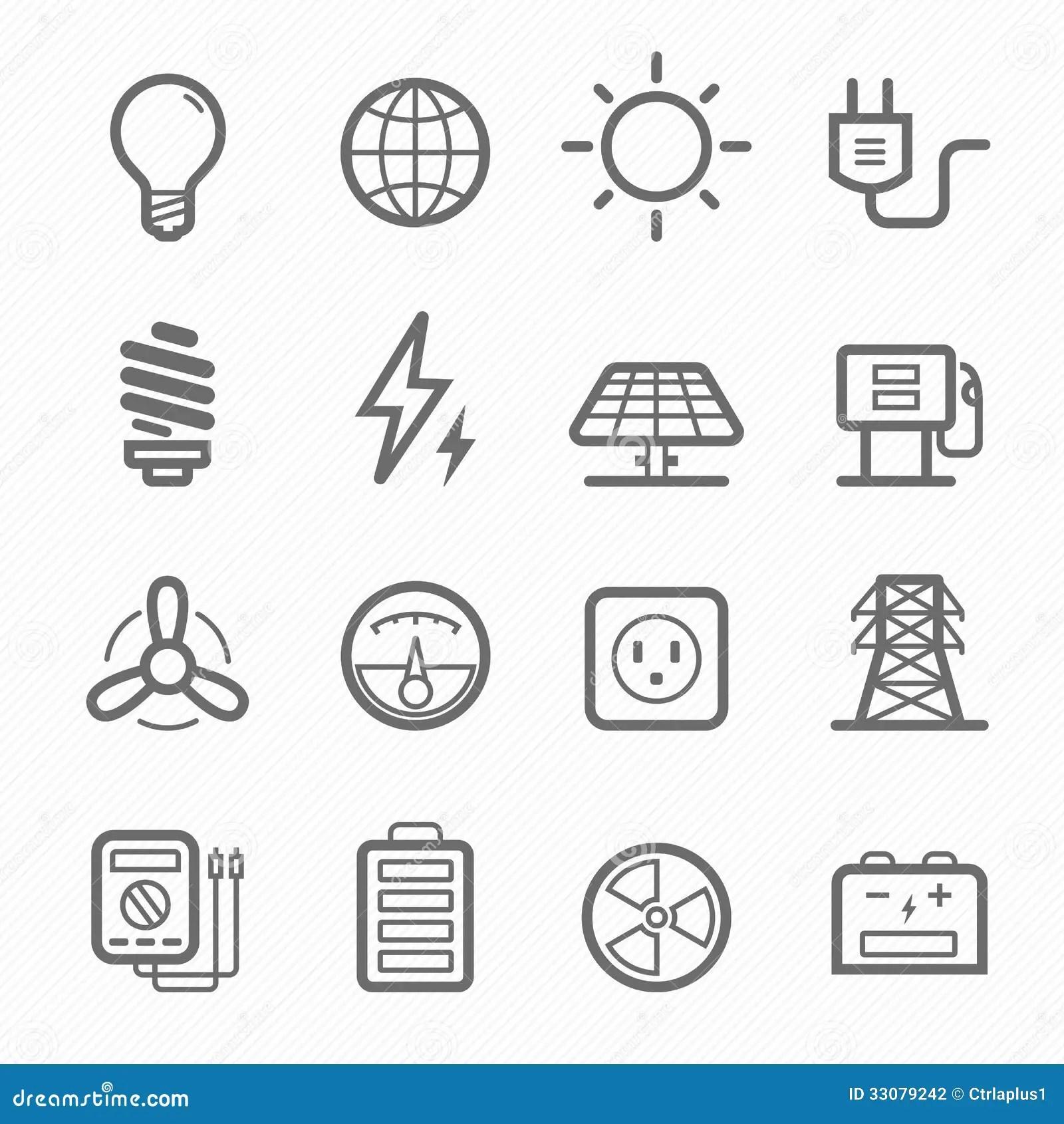 Power Symbol Line Icon Set Stock Vector Illustration Of