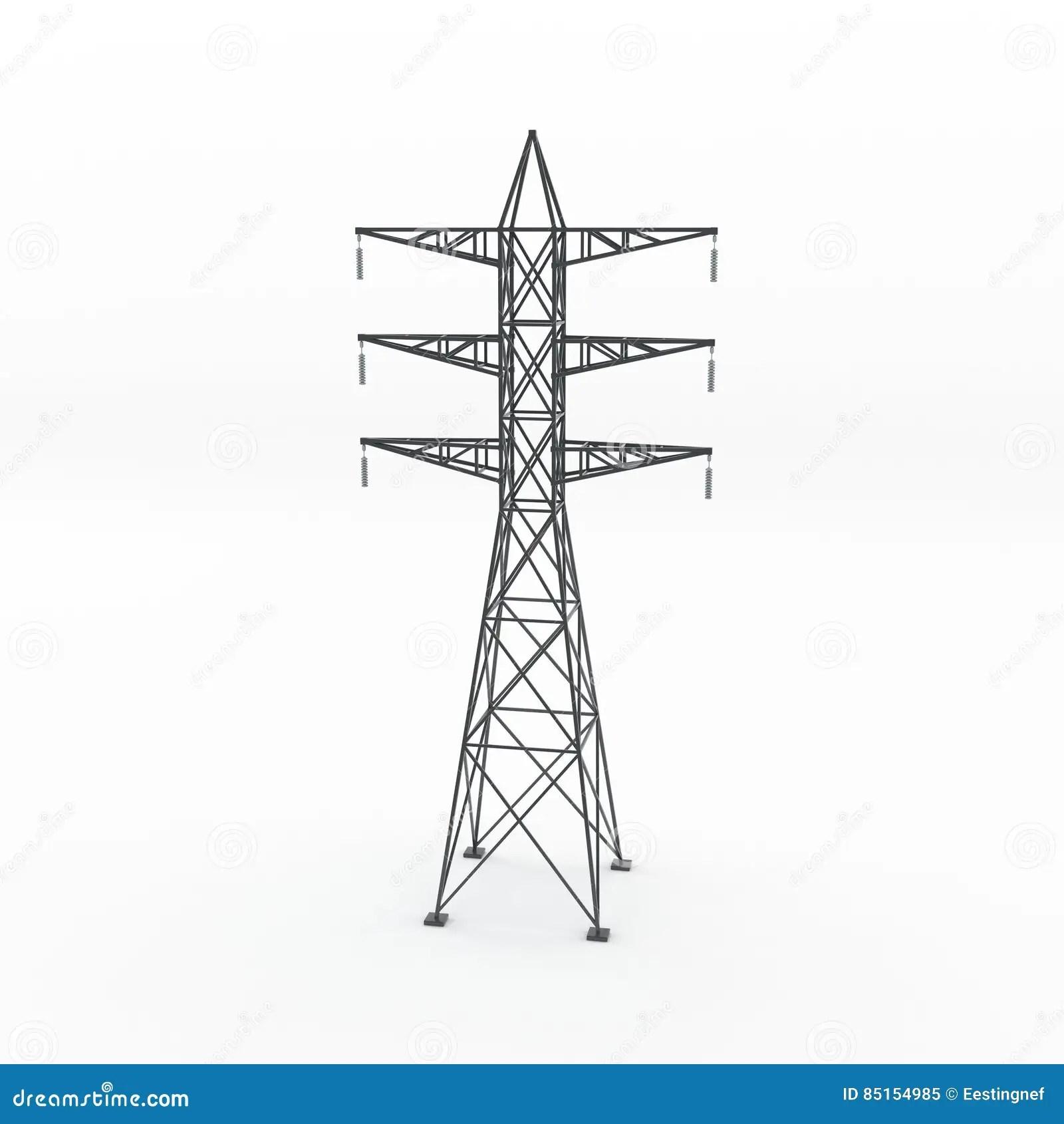 Power Transmission Tower 3d Rendering Illustration Stock