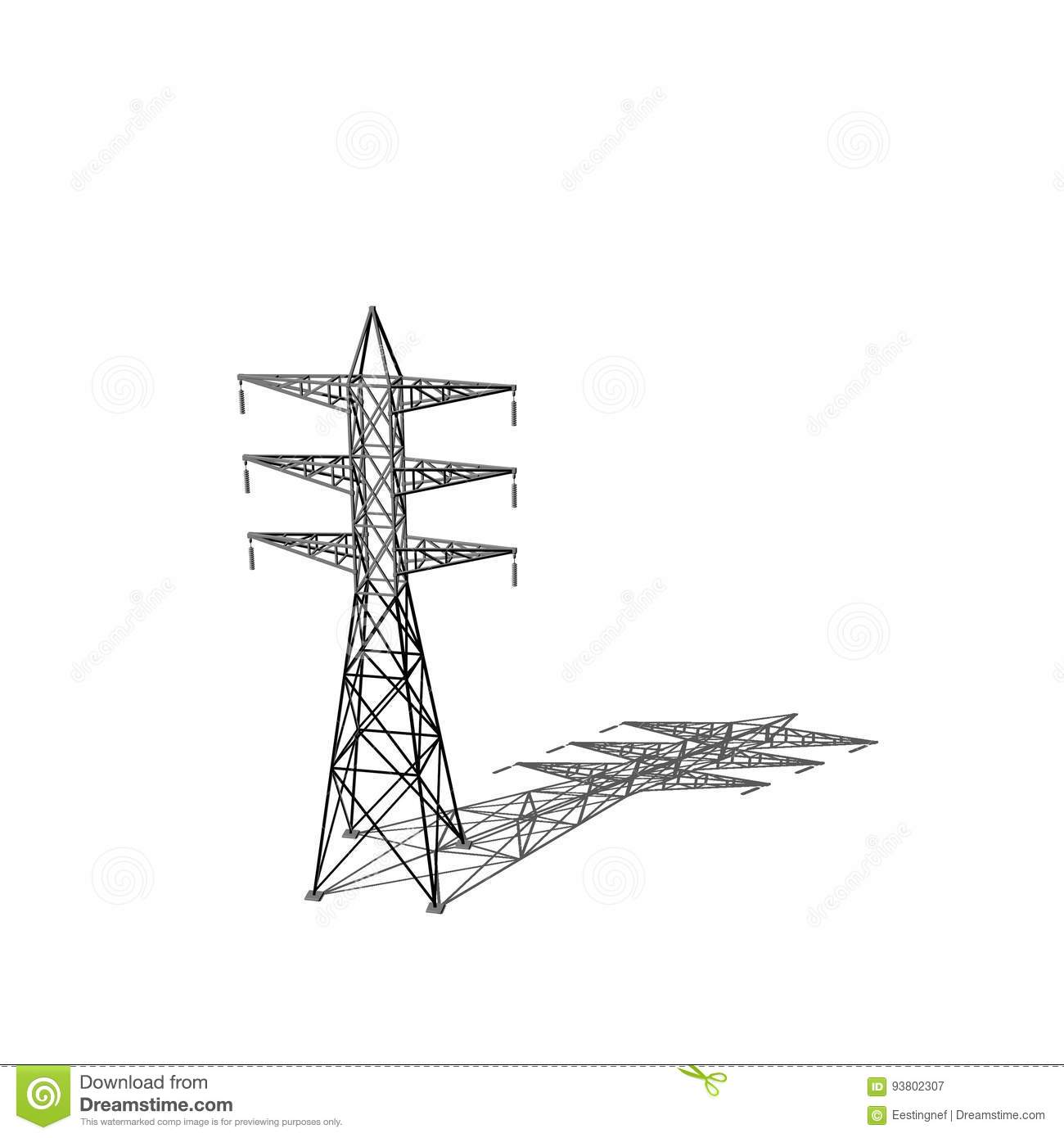 Power Transmission Tower Isolated On White Background