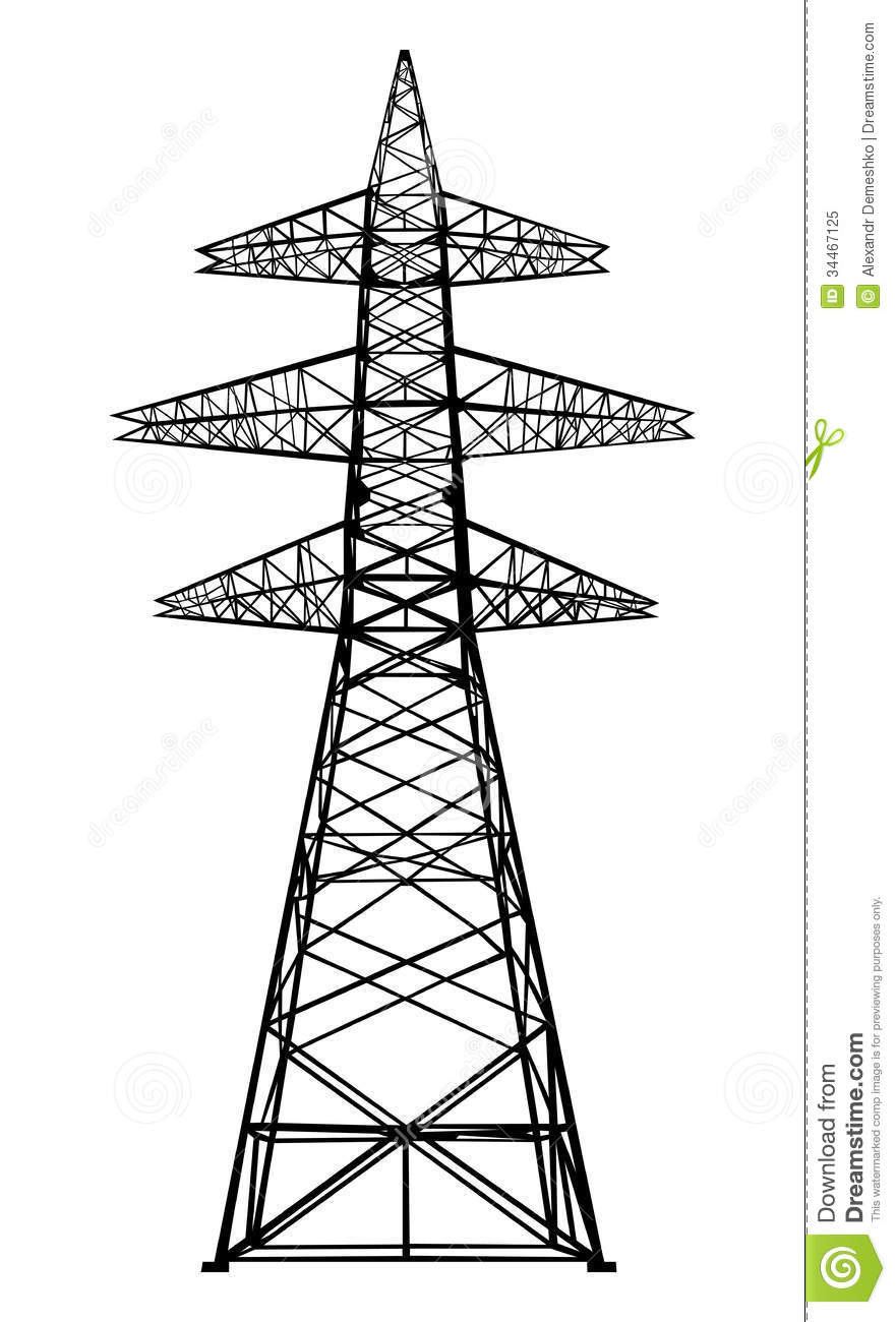 Power transmission tower. stock vector. Image of