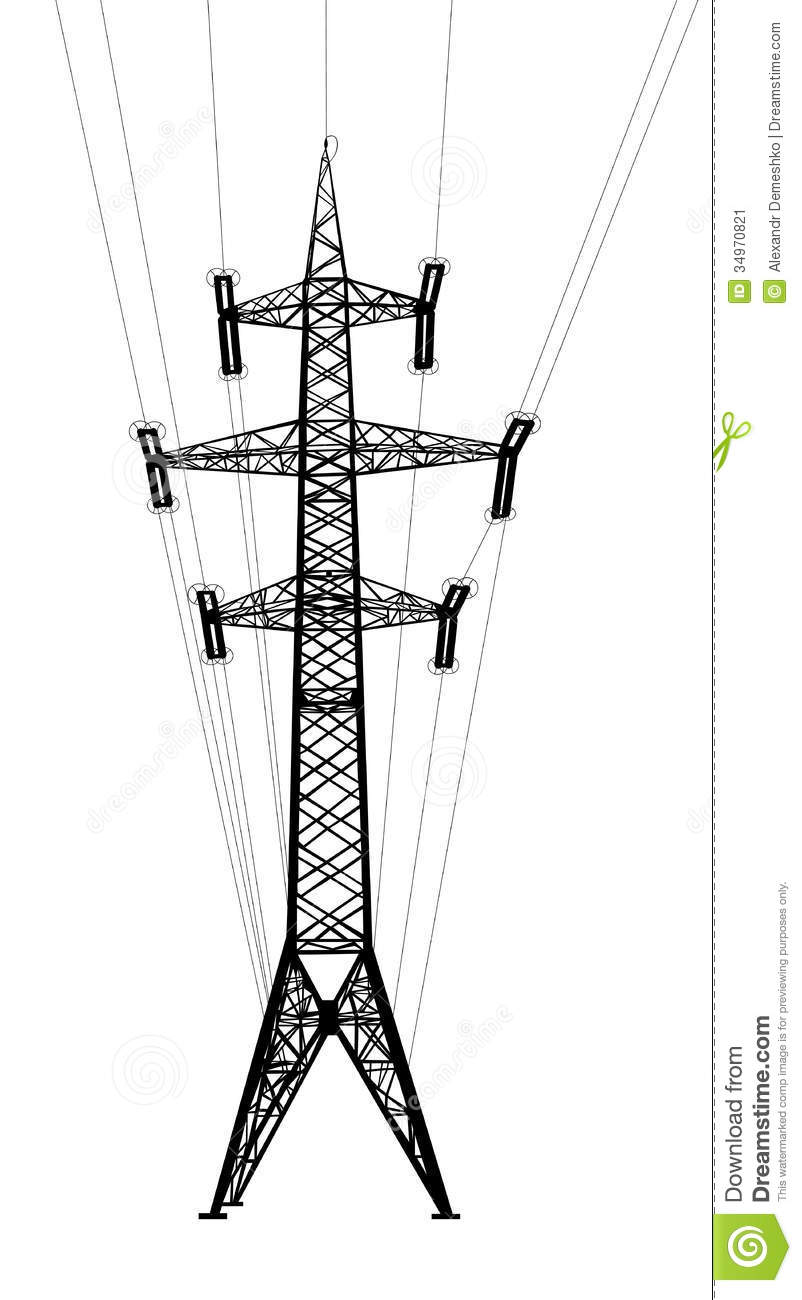 Power Transmission Tower With Wires. Stock Vector