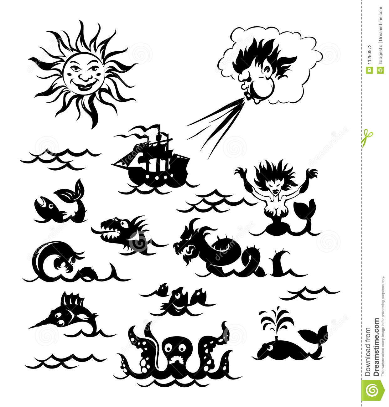 Powerful Sea Monsters Stock Vector Illustration Of