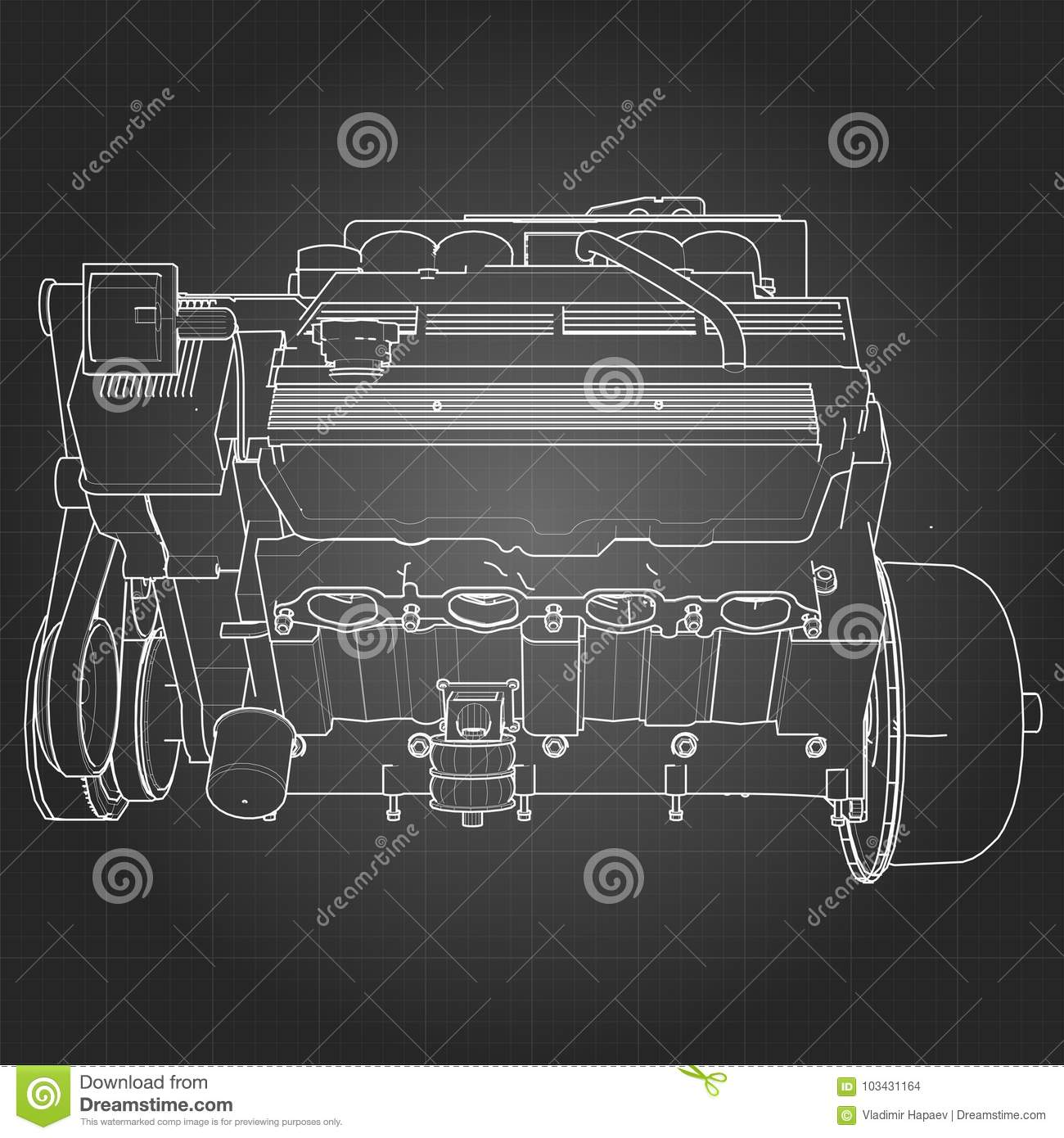 hight resolution of powerful v8 car engine the engine is drawn with white lines on a black sheet