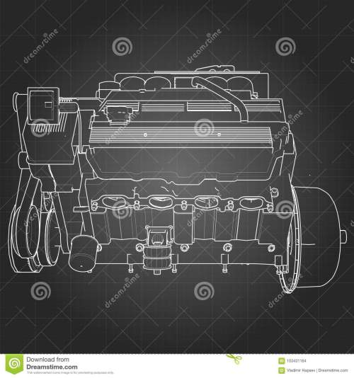 small resolution of powerful v8 car engine the engine is drawn with white lines on a black sheet