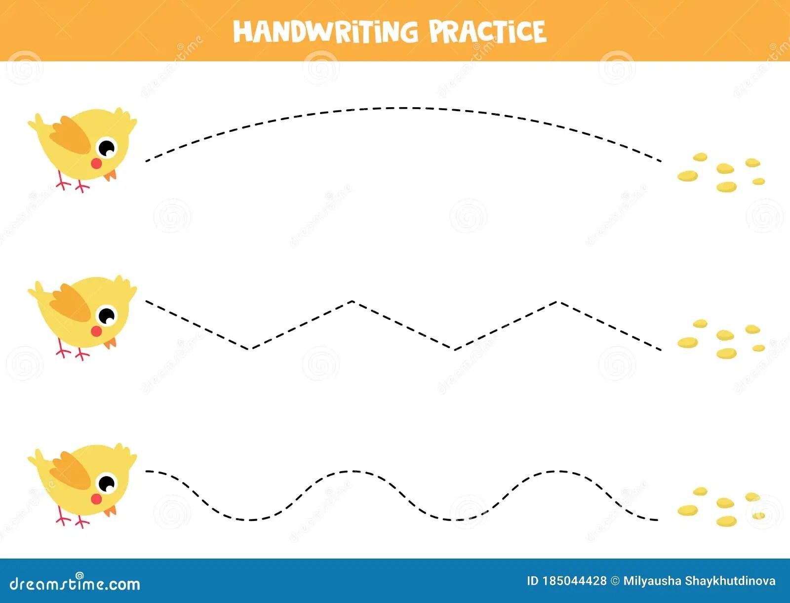 Practicing Writing Skills Cute Cartoon Chicken