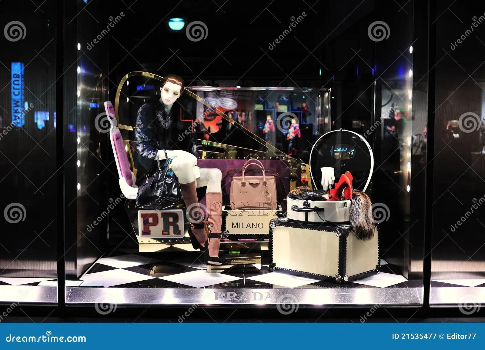 Prada Luxury Fashion Store Editorial Photography Image