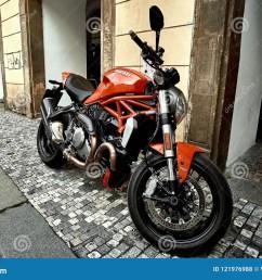 prague czech republic september 15 2017 cool red luxury ducati motorcycle bike [ 1300 x 957 Pixel ]