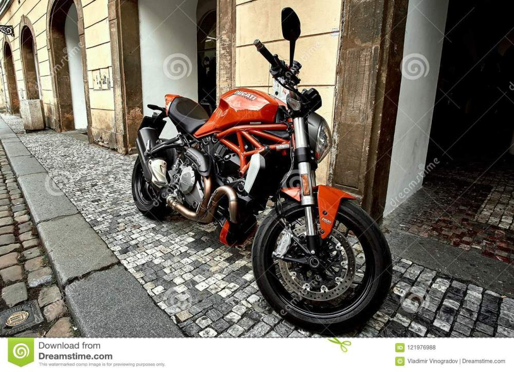 medium resolution of prague czech republic september 15 2017 cool red luxury ducati motorcycle bike