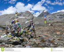 Prayer Wall Flags And Village In Nepal Royalty-free Stock