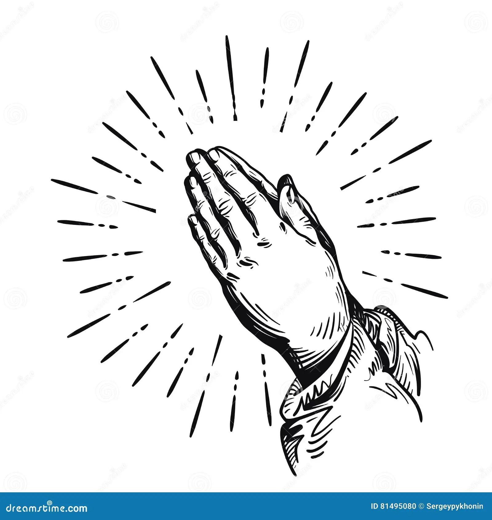 Prayer Sketch Praying Hands Vector Illustration Isolated