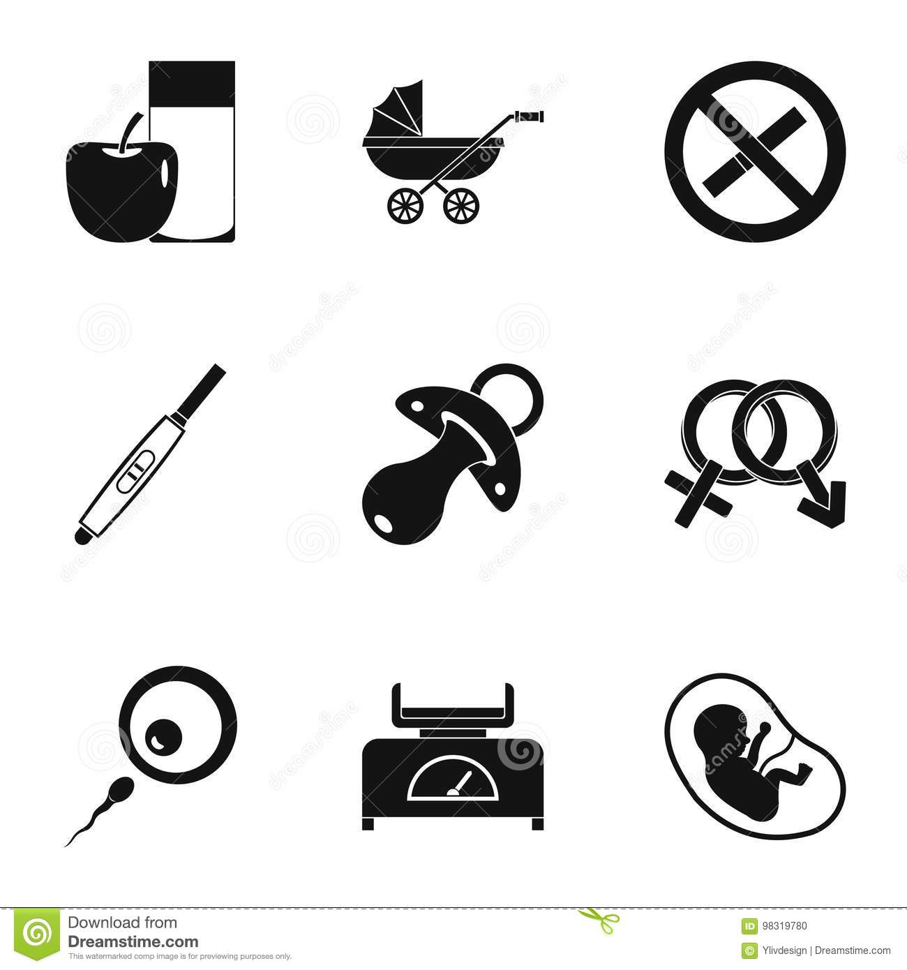 Baby Childhood Isolated Silhouette Icons Symbols Set Vector Illustration Vector Illustration