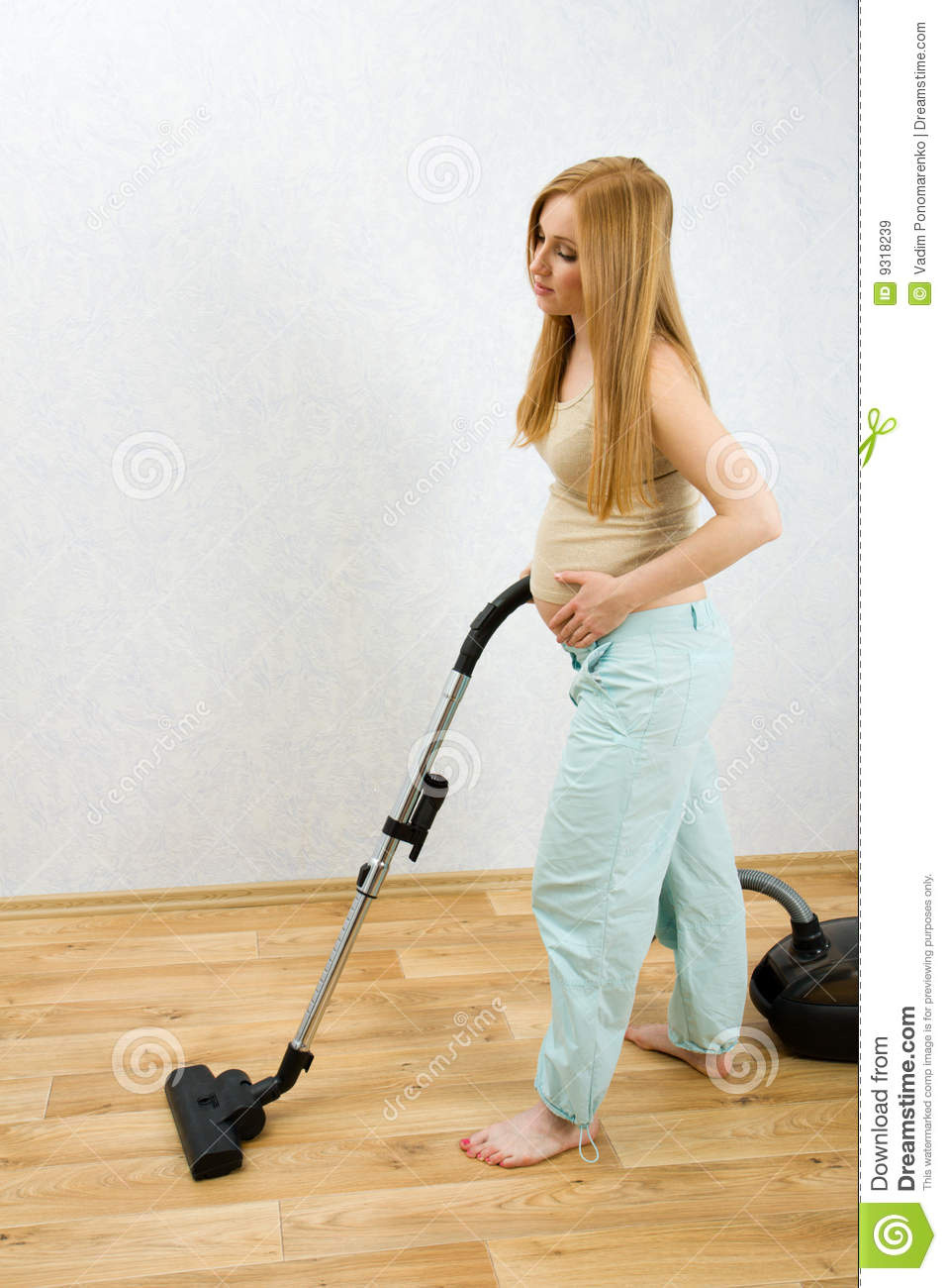 Pregnant Woman Cleaning Floor With Vacuum Cleaner Royalty Free Stock Images  Image 9318239