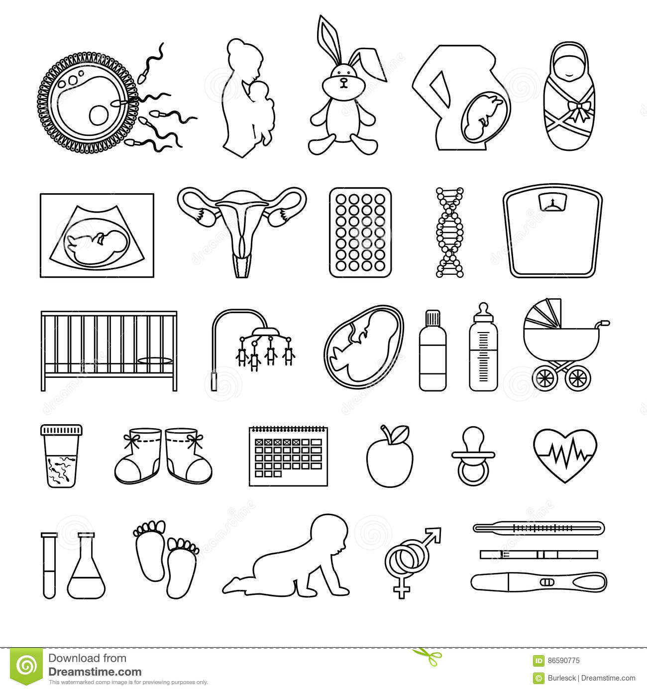 Pregnant Woman And Pregnancy Line Icons Outline Body Birth Baby Newborn Scale Signs Stock