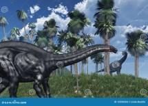 Prehistoric Scene With Dinosaurs Stock Illustration