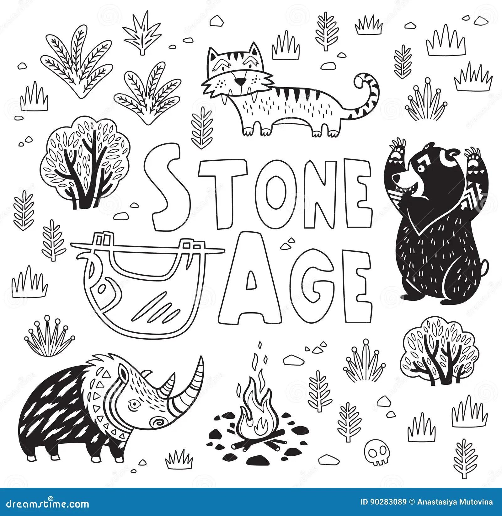 Prehistoric Stone Age Vector Print In Cartoon Style