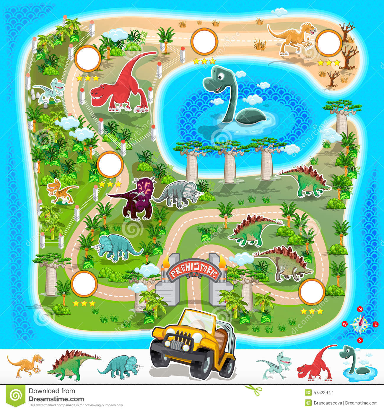 Prehistoric Zoo Map Collection 01 Stock Vector