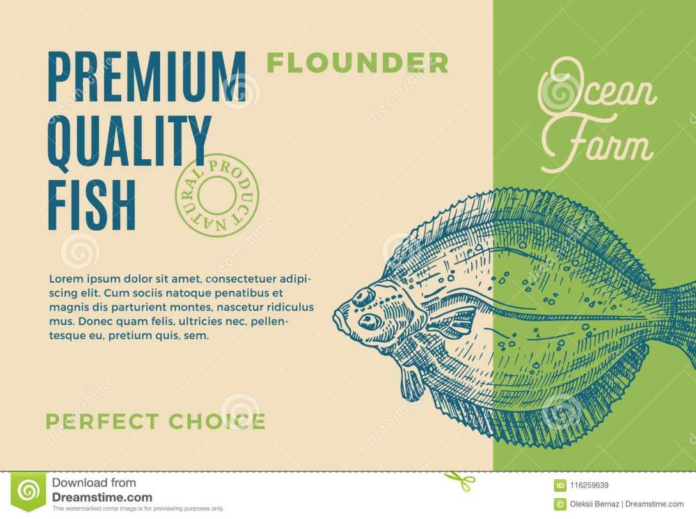 medium resolution of abstract vector fish packaging design or label modern typography and hand