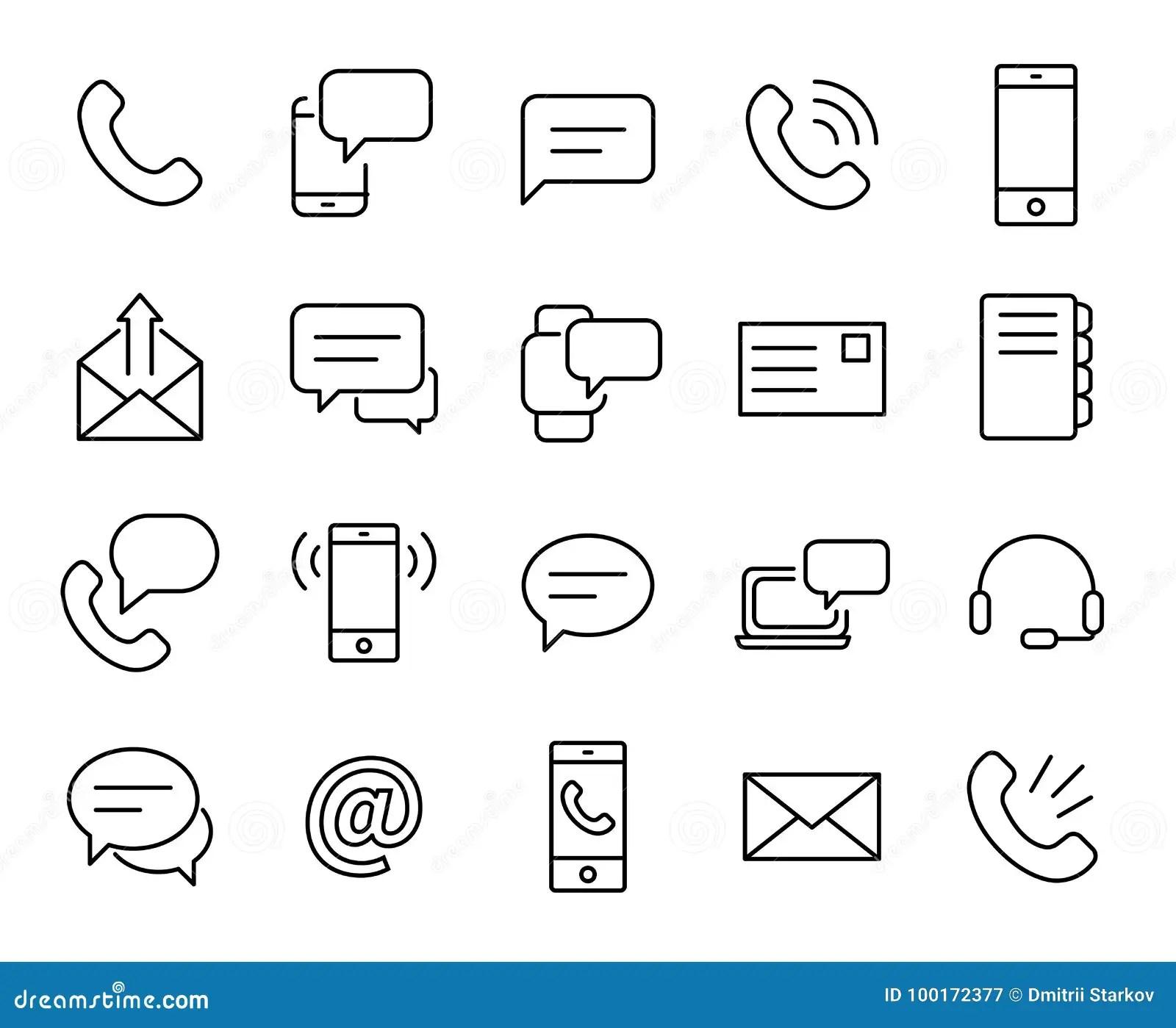 Premium Set Of Contact Us Line Icons Stock Illustration