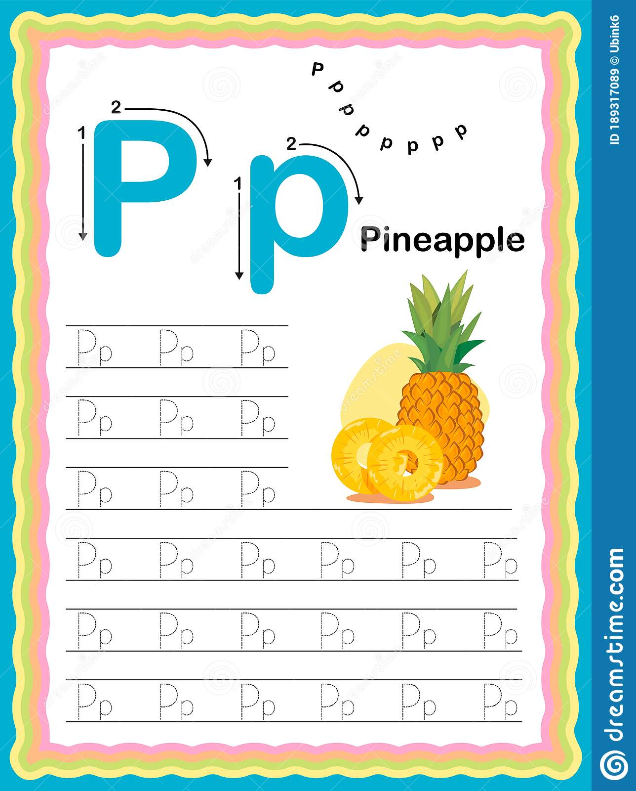 Preschool Colorful Letter P Uppercase And Lowercase