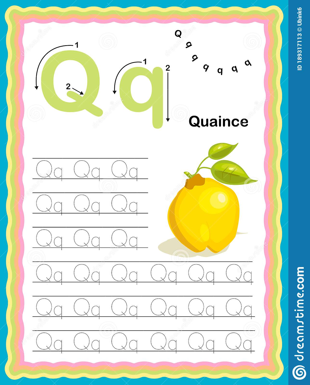 Preschool Colorful Letter Q Uppercase And Lowercase