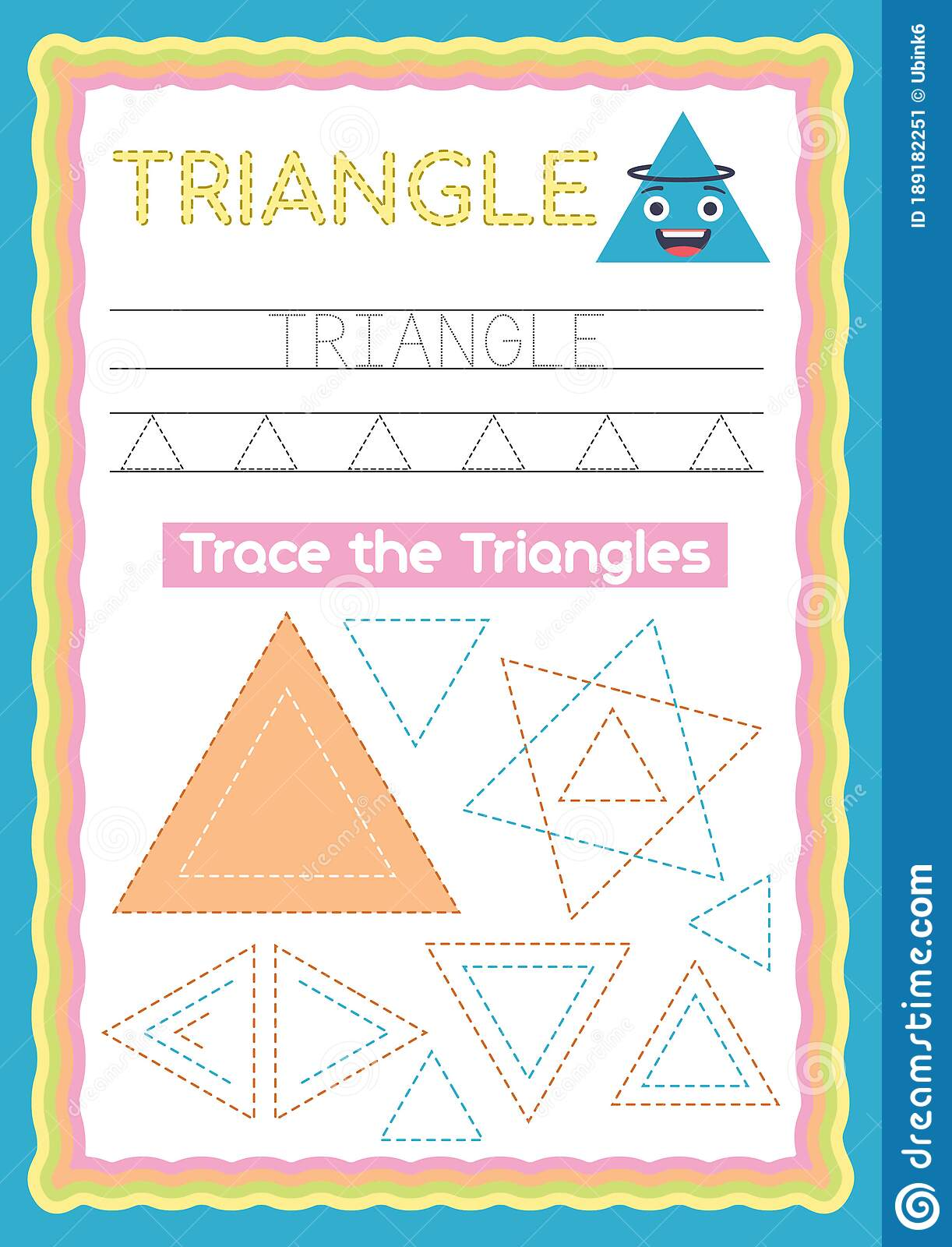 Preschool Colorful Triangle Shape Tracing And Writing