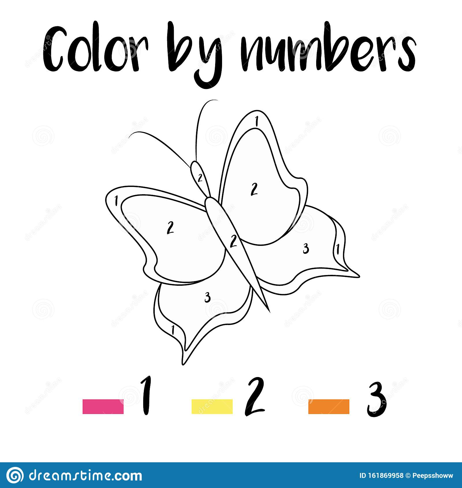 Coloring Page With Butterfly Kids Activity Vector