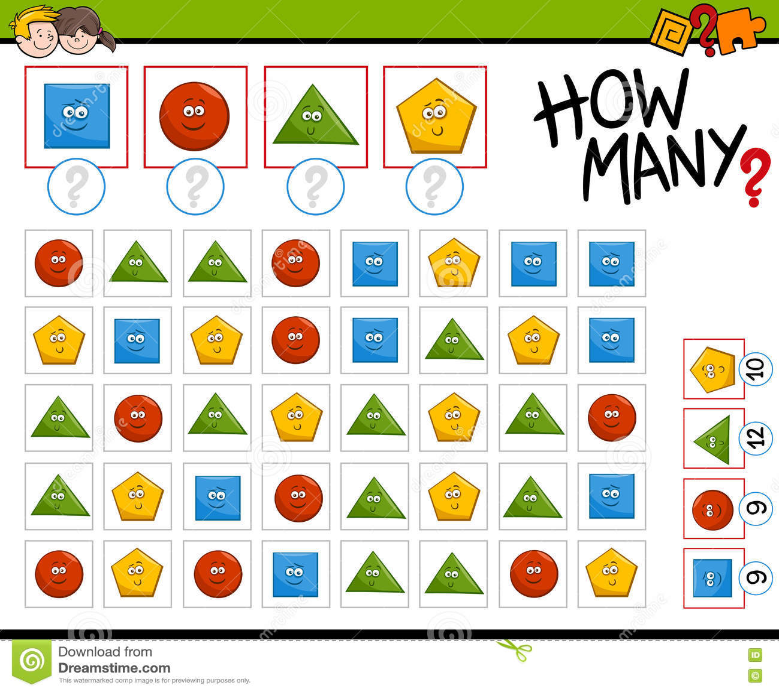 Preschool Counting Activity Stock Vector