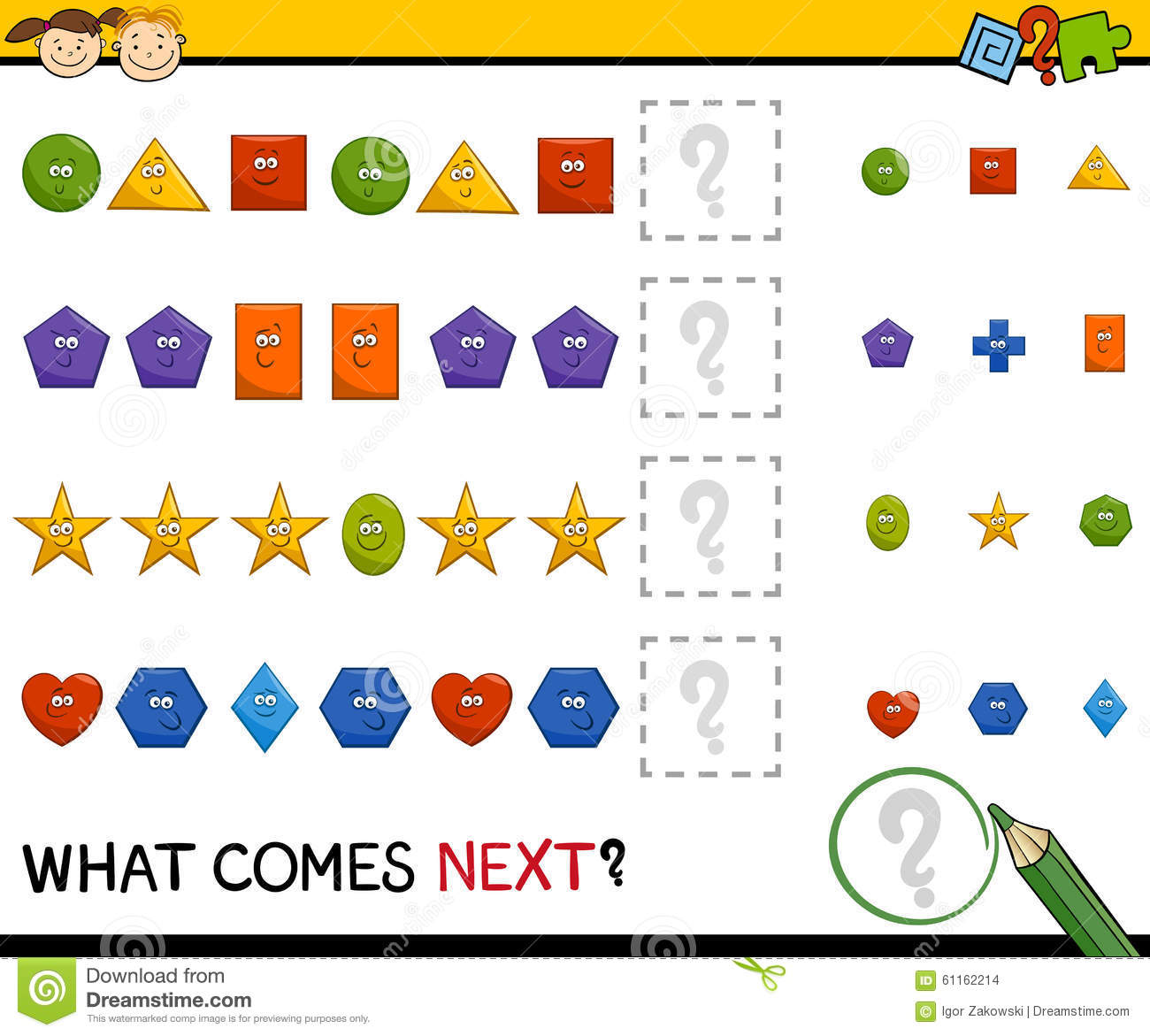 Preschool Pattern Game With Shapes Stock Vector