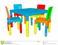 Preschool Table and Chairs stock illustration. Image of ...