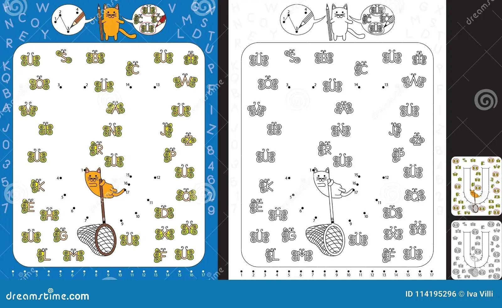 Preschool Worksheet Stock Vector Illustration Of Letters