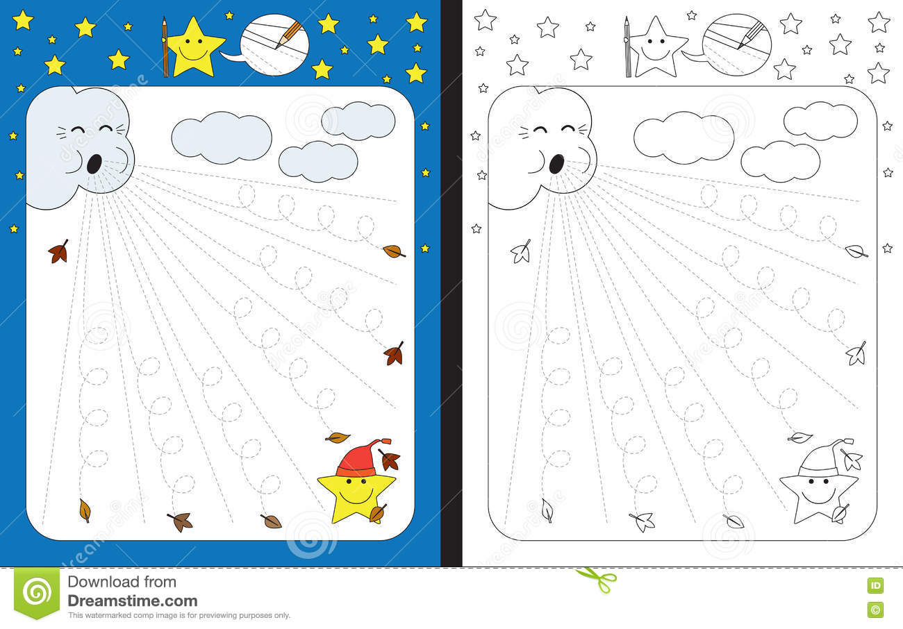 Preschool Worksheet Stock Vector Illustration Of Star