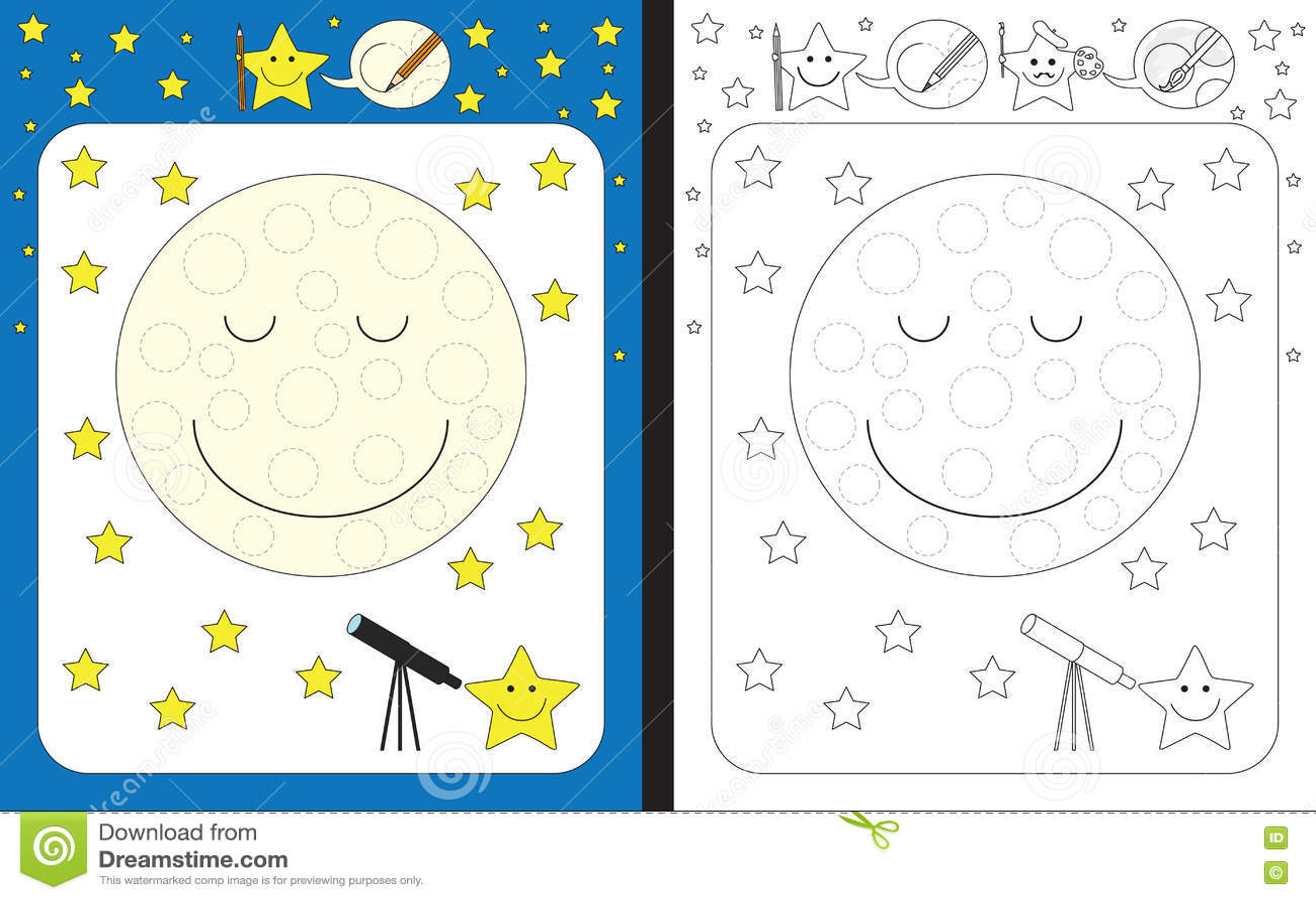 Preschool Worksheet Stock Vector Illustration Of Moon