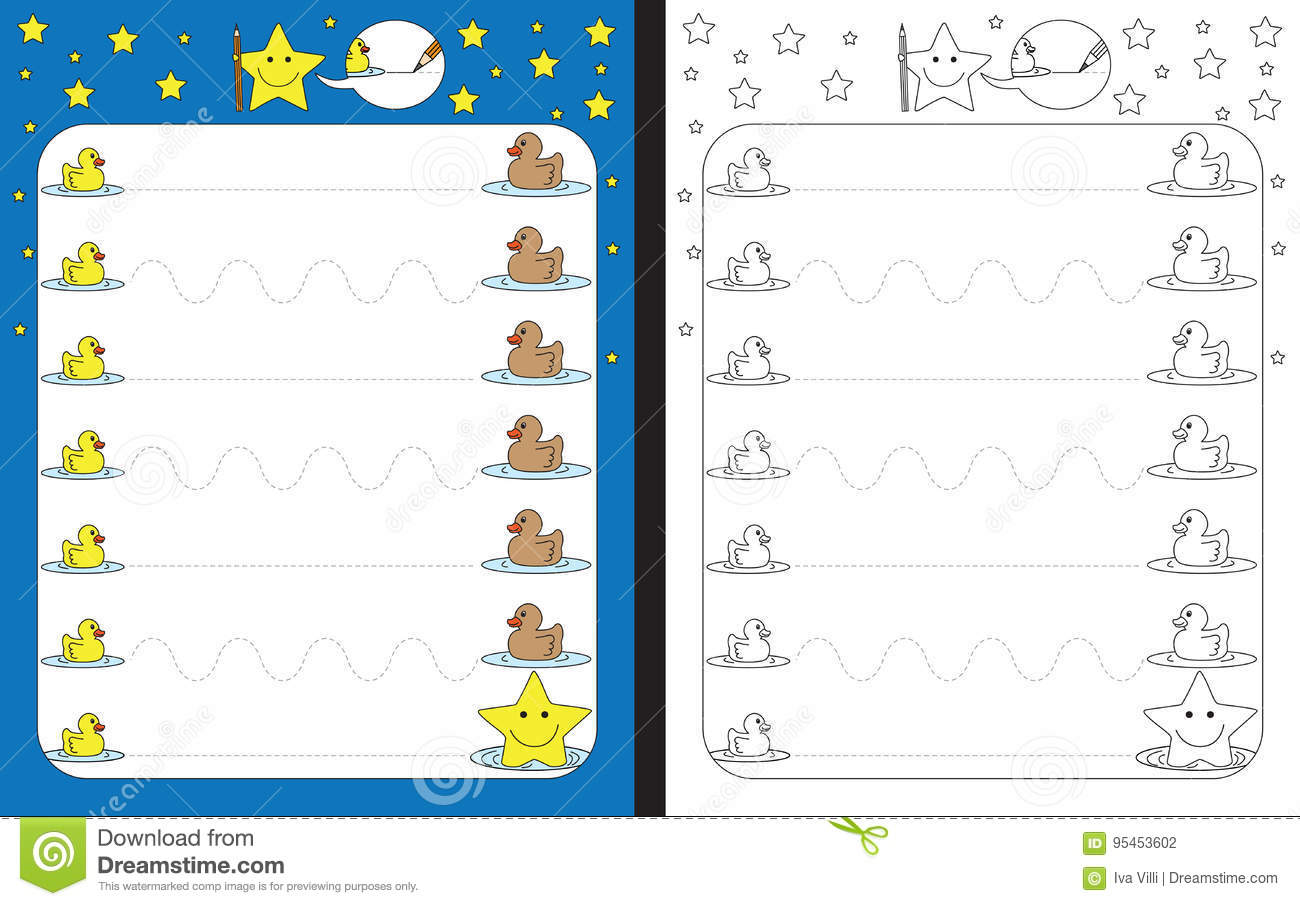 Preschool Worksheet Stock Vector Illustration Of Cartoon