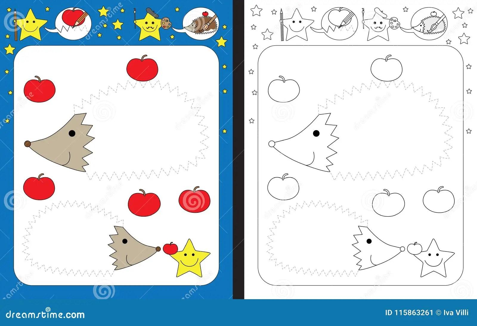 Preschool Worksheet Stock Vector Illustration Of Line