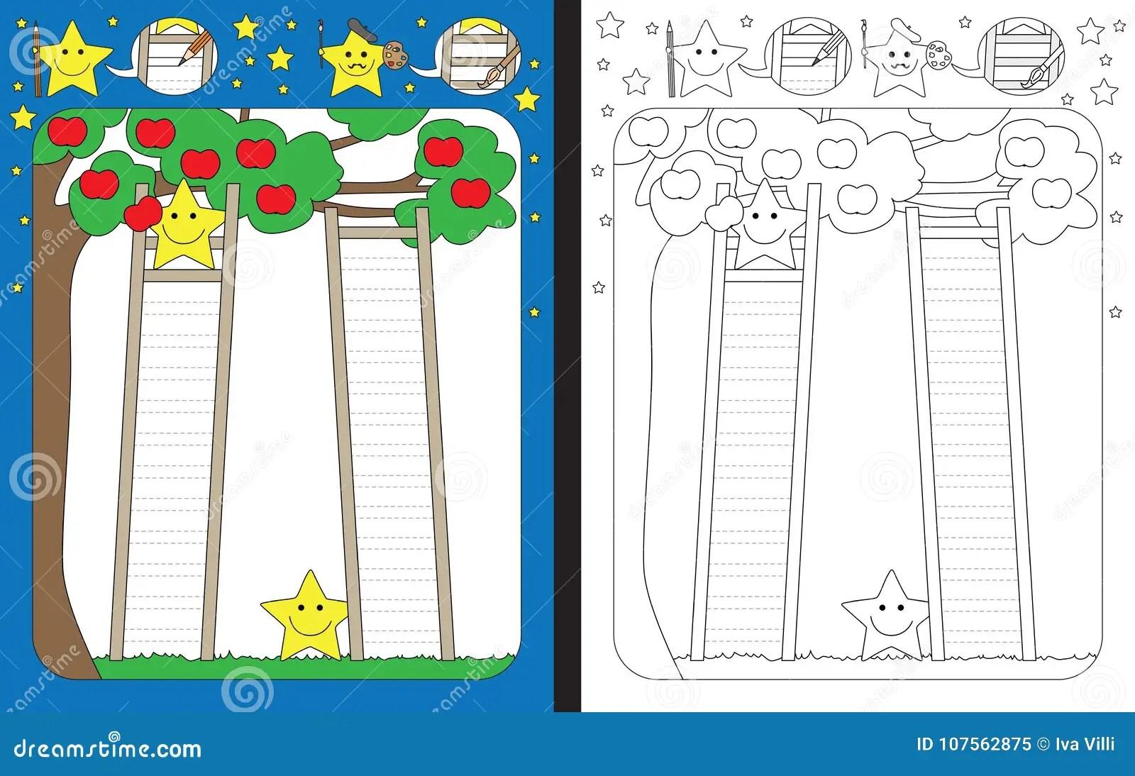 Preschool Worksheet Stock Vector Illustration Of Ladder
