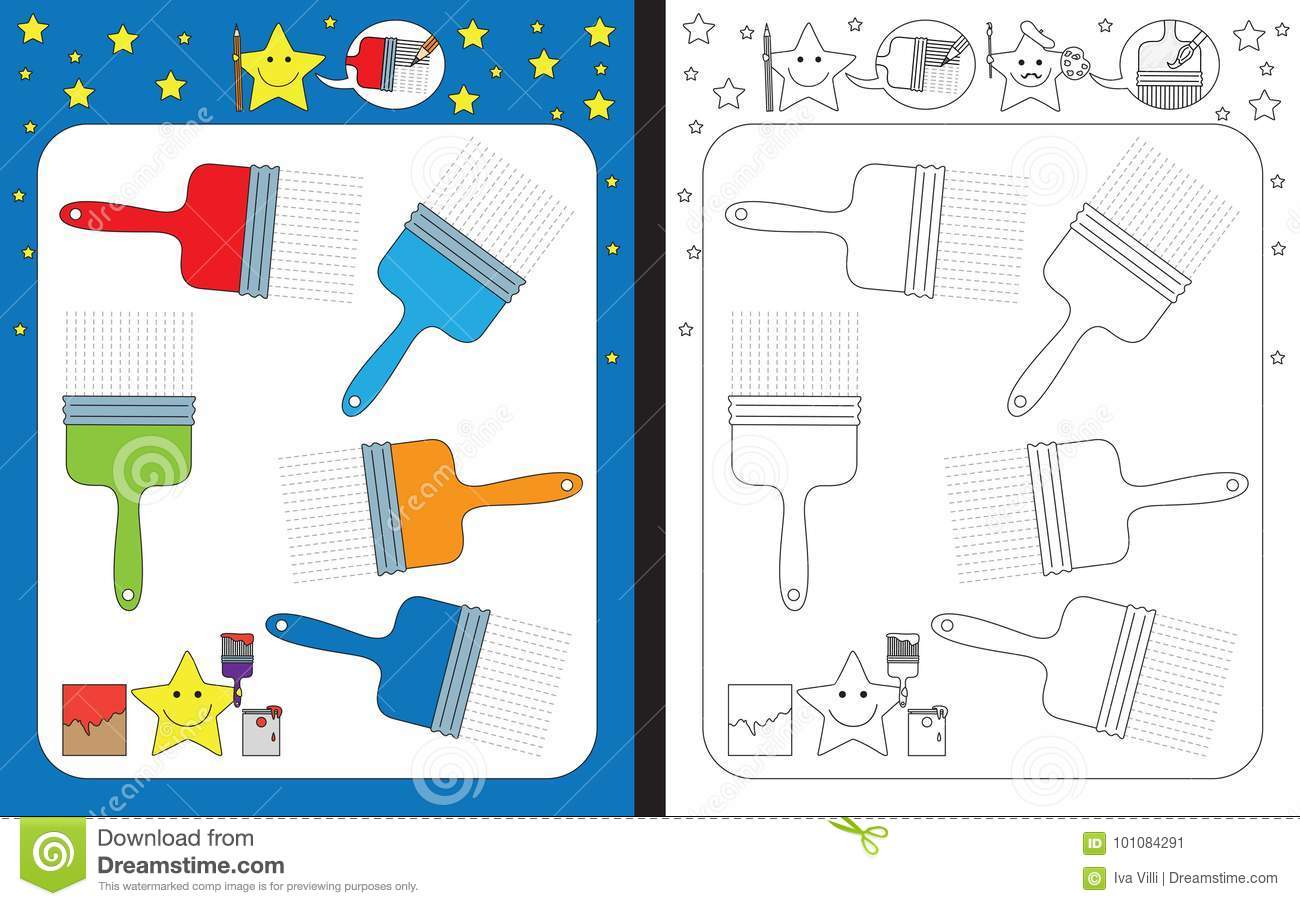 Preschool Worksheet Stock Vector Illustration Of Garden