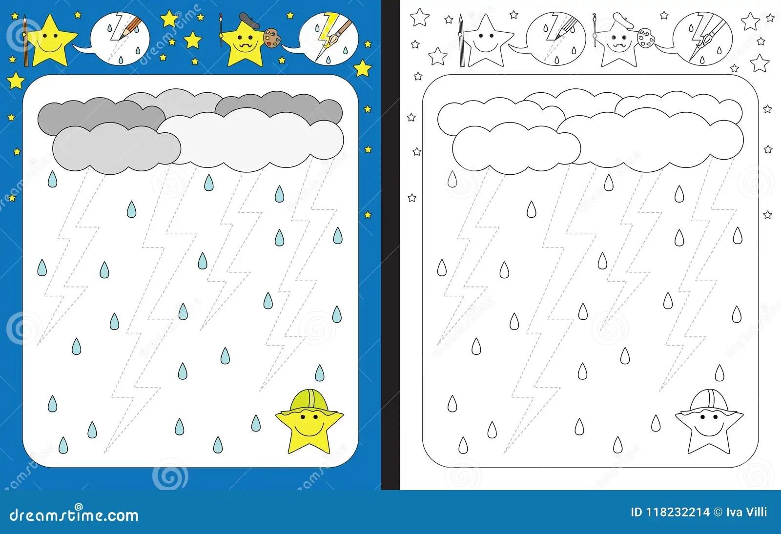 Preschool Worksheet Stock Vector Illustration Of Bolt