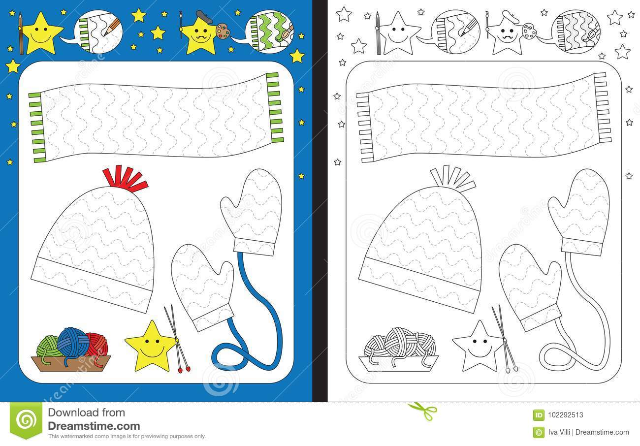 Preschool Worksheet Stock Vector Illustration Of Outlined