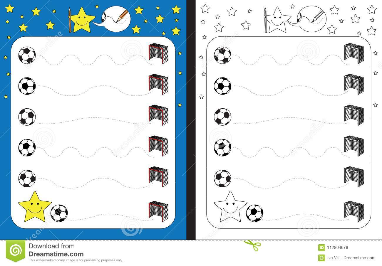 Preschool Worksheet Stock Vector Illustration Of Soccer