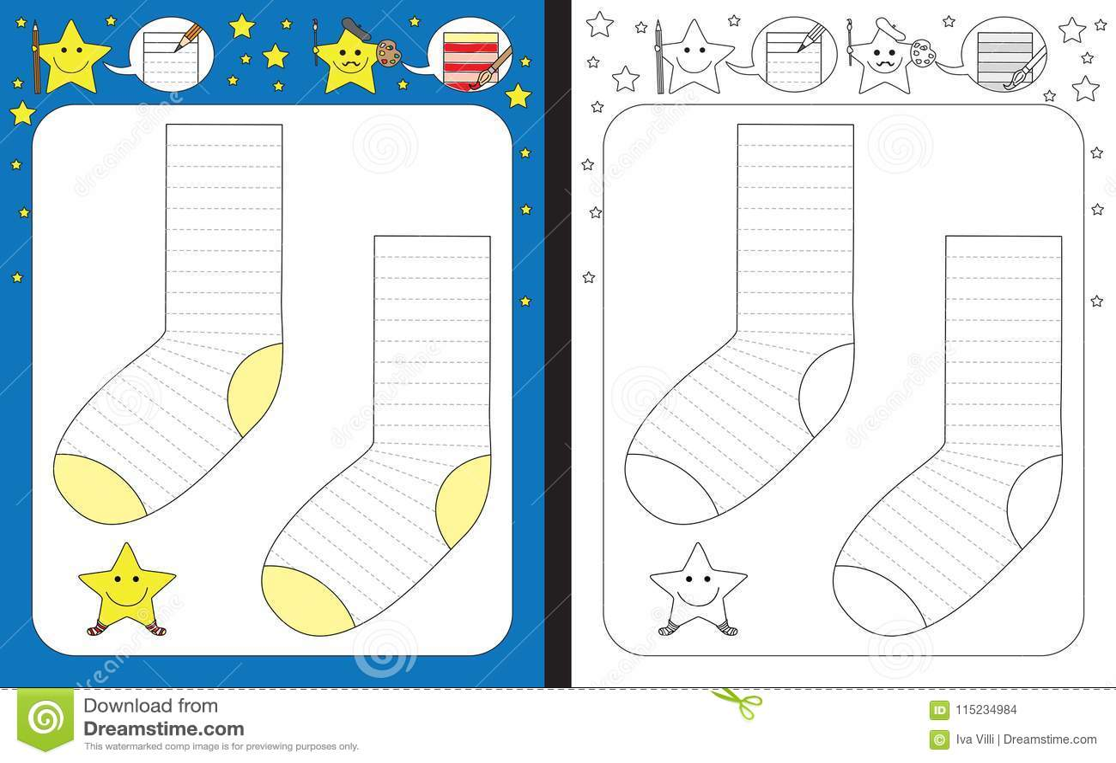 Preschool Worksheet Stock Vector Illustration Of Socks