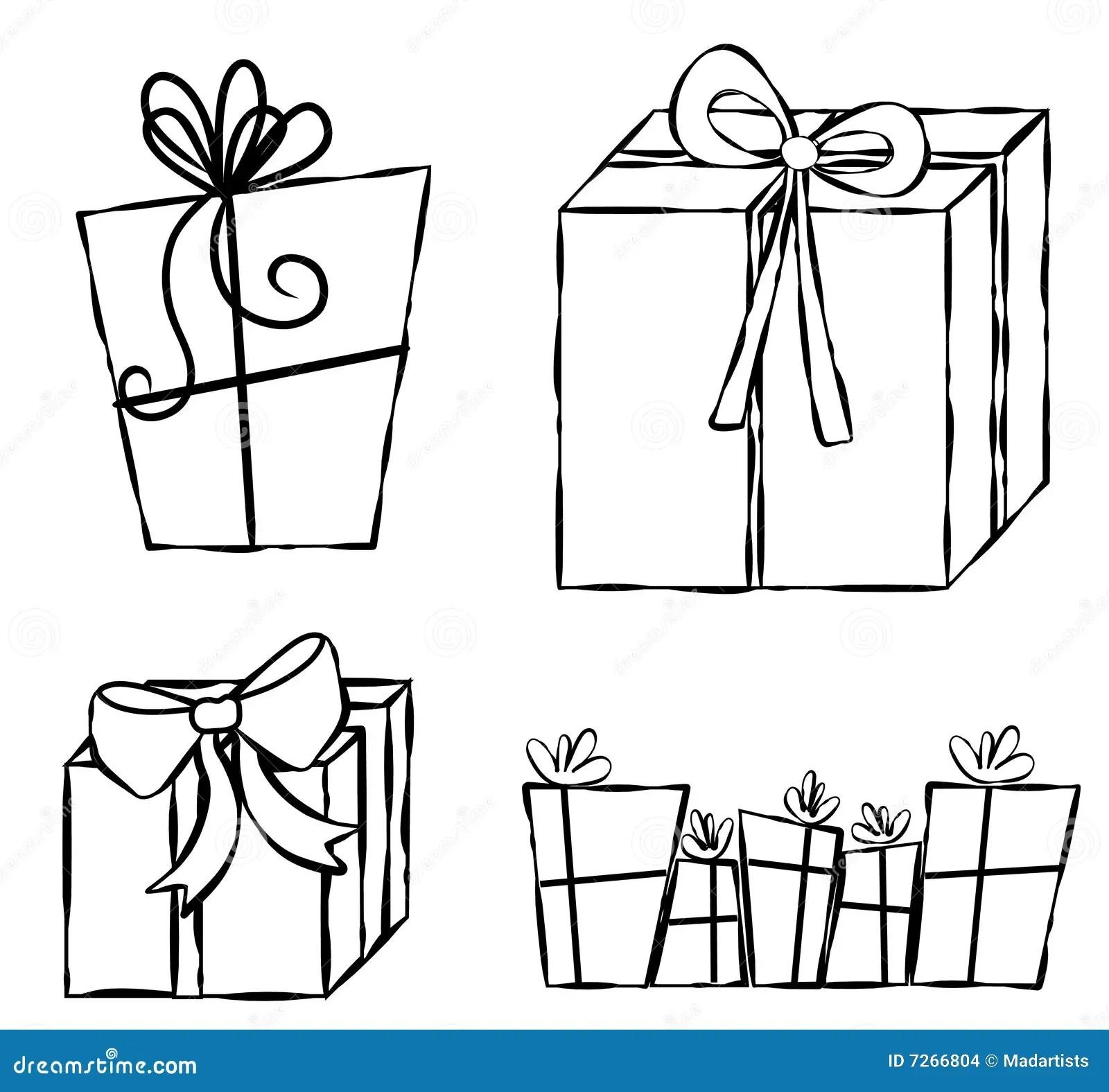 Presents Ts Line Art Stock Illustration Image Of