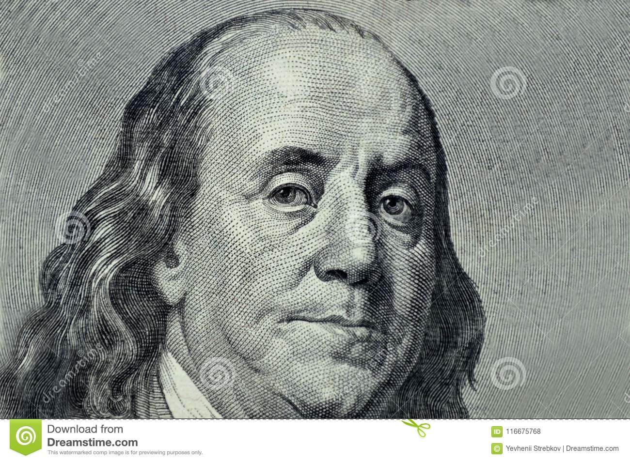 Benjamin Franklin Close Up On A Gray Background Stock