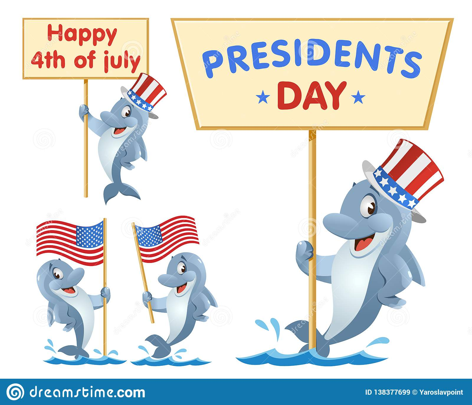 Presidents Day 4th Of July Funny Dolphin Holds American