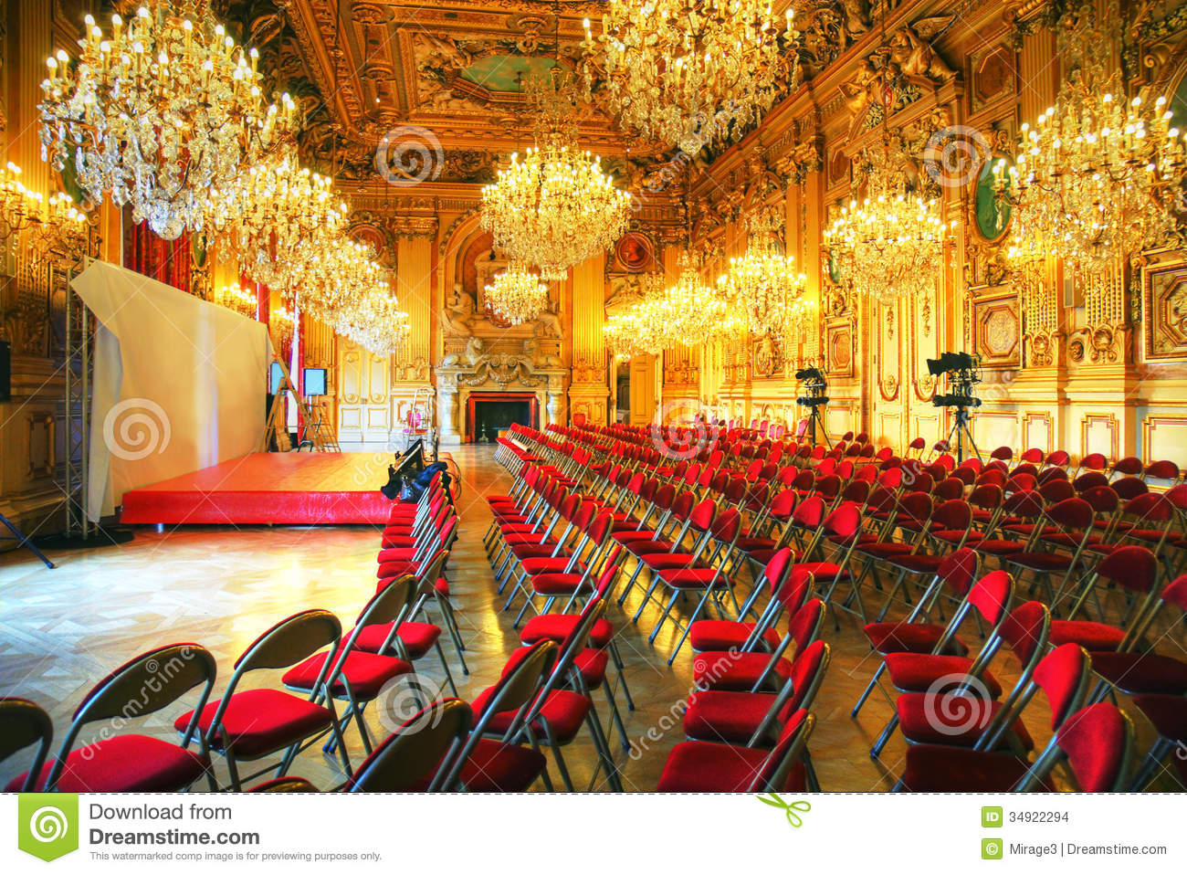 Press Conference In Antique Ballroom Stock Images  Image