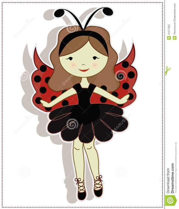 pretty cute girl ladybug stock