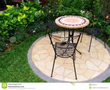Pretty Garden With Paving And Furnitures Stock